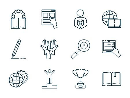 Line style icon set design, Eduaction school university class lesson knowledge preschooler study learning classroom and primary theme Vector illustration
