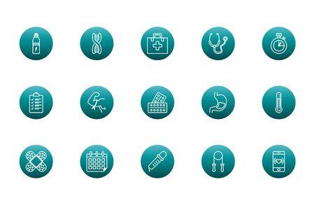 block gradient style icon set design, healthy lifestyle fitness gym bodybuilding bodycare fit activity exercise and workout theme Vector illustration Illusztráció