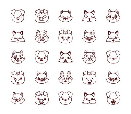 Cute kawaii cartoons line style icon set design, Animals zoo life nature character childhood and adorable theme Vector illustration