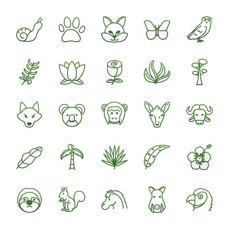 gradient style icon set design, Biodiversity animals life natural nature and adorable theme Vector illustration