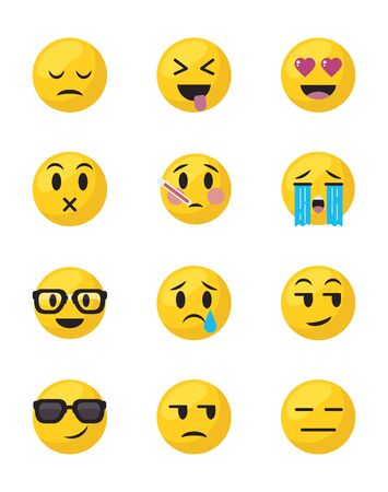 Emojis faces flat style icon set design, Cartoon expression cute emoticon character profile facial toy adorable and social media theme Vector illustration