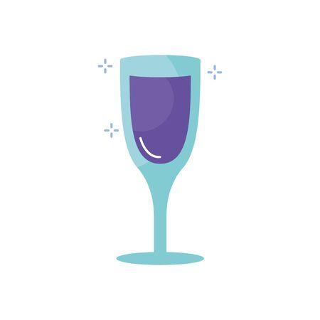 Champagne cup flat style icon design, Alcohol drink bar beverage liquid menu surprise restaurant and celebration theme Vector illustration Illustration