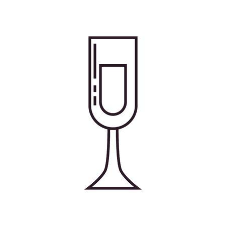 Champagne cup line style icon design, Alcohol drink bar beverage liquid menu surprise restaurant and celebration theme Vector illustration Illustration