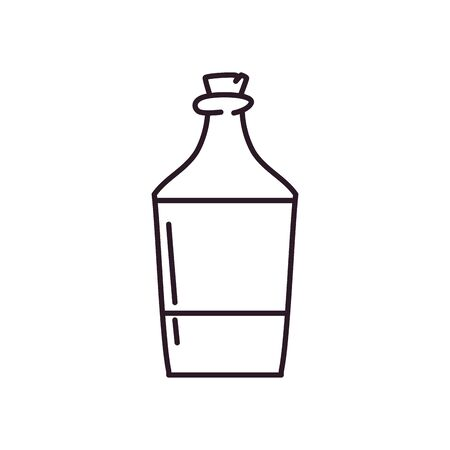 bottle line style icon design, Alcohol drink bar beverage liquid menu surprise restaurant and celebration theme Vector illustration