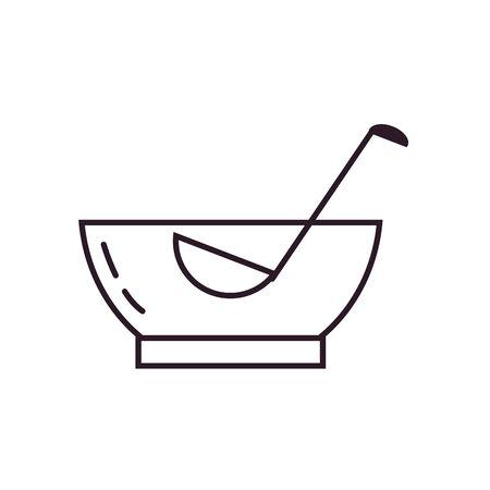 punch bowl line style icon design, Alcohol drink bar beverage liquid menu surprise restaurant and celebration theme Vector illustration
