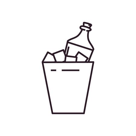 bottle inside ice bucket line style icon design, Alcohol drink bar beverage liquid menu surprise restaurant and celebration theme Vector illustration Illustration