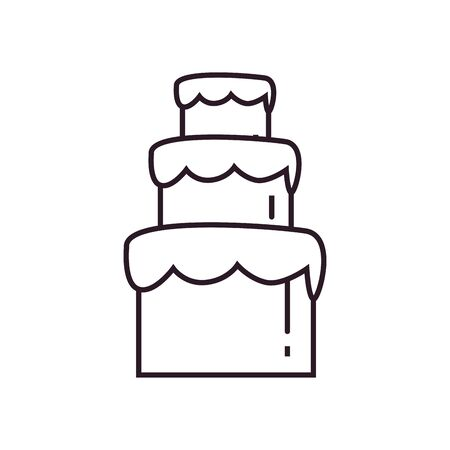 Sweet cake line style icon design, dessert food delicious sugar snack and tasty theme Vector illustration Illusztráció