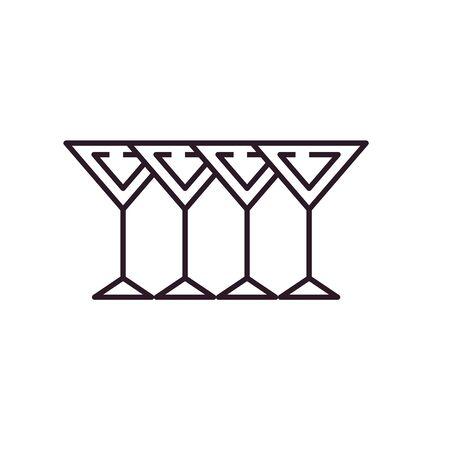 Cocktails line style icon design, Alcohol drink bar beverage liquid menu surprise restaurant and celebration theme Vector illustration