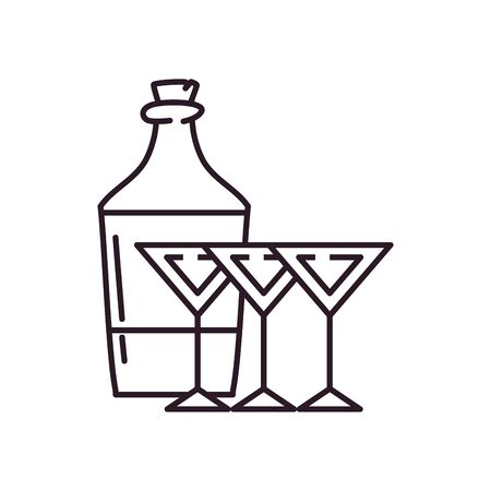 Cocktails and bottle line style icon design, Alcohol drink bar beverage liquid menu surprise restaurant and celebration theme Vector illustration Illustration