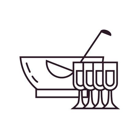 punch bowl and cups line style icon design, Alcohol drink bar beverage liquid menu surprise restaurant and celebration theme Vector illustration Illustration