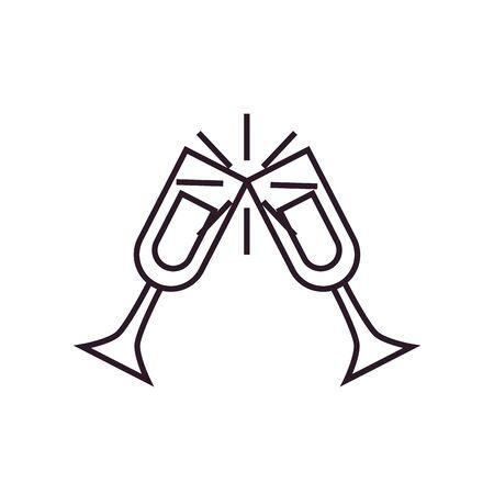 Champagne cups line style icon design, Alcohol drink bar beverage liquid menu surprise restaurant and celebration theme Vector illustration