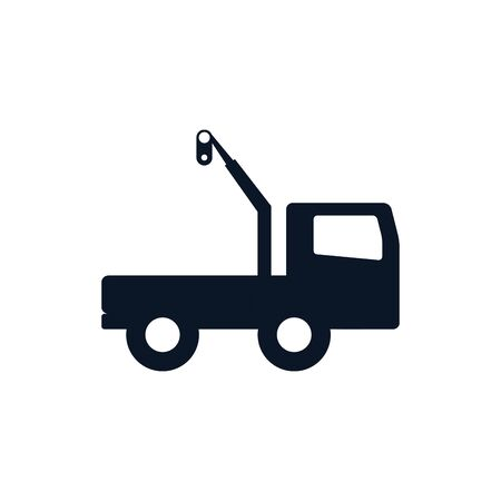 Crane truck silhouette style icon design of Construction working maintenance workshop repairing progress labor and industrial theme Vector illustration