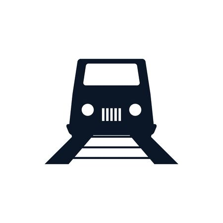Train and rail vehicle silhouette style icon design, Transportation travel trip urban motor speed fast and driving theme Vector illustration