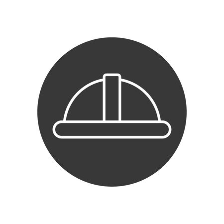 Builder helmet line block style icon design of Construction working maintenance worker job workshop repairing and progress theme Vector illustration Çizim