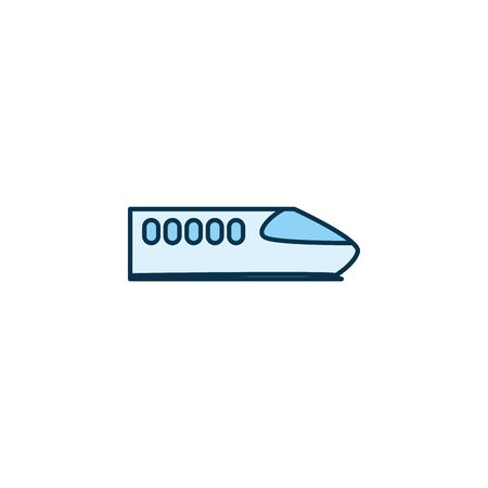 Bullet train vehicle line style icon design, Transportation travel trip urban motor speed fast and driving theme Vector illustration 일러스트