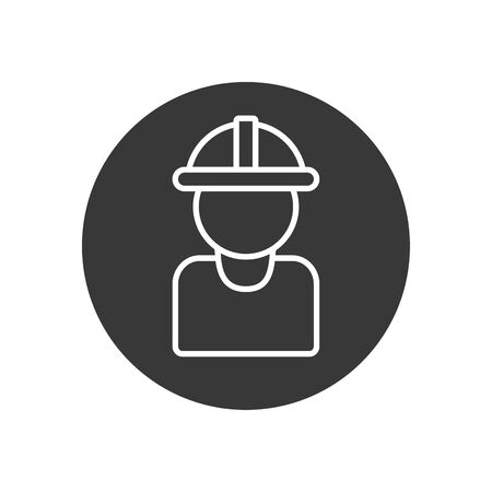 Builder man with helmet line block style icon design of Construction working maintenance worker job workshop repairing and progress theme Vector illustration