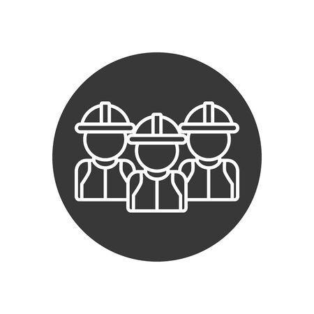 Builder men with helmets line block style icon design of Construction working maintenance worker job workshop repairing and progress theme Vector illustration Çizim