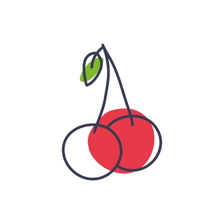 cherry line color style icon design, Fruit healthy organic food sweet and nature theme Vector illustration Иллюстрация