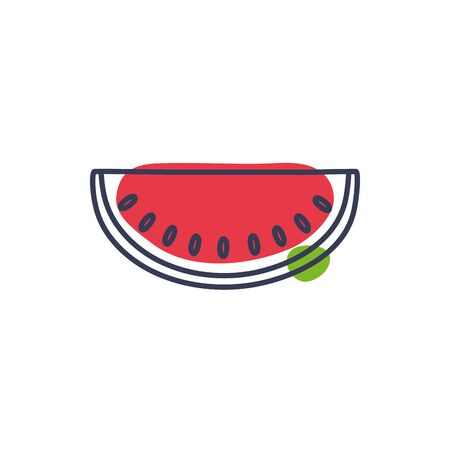watermelon line color style icon design, Fruit healthy organic food sweet and nature theme Vector illustration