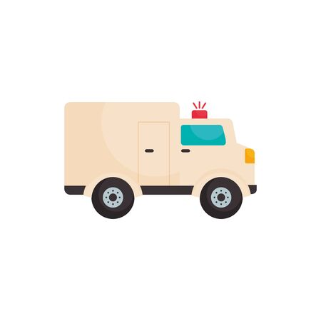 Ambulance flat style icon design of Medical care health emergency aid exam clinic and patient theme Vector illustration