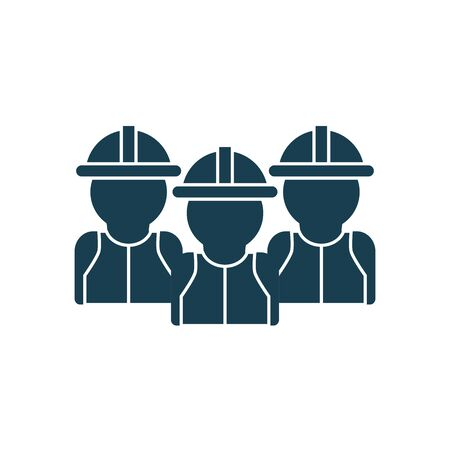 Builder men with helmets silhouette style icon design of Construction working maintenance worker job workshop repairing and progress theme Vector illustration Çizim