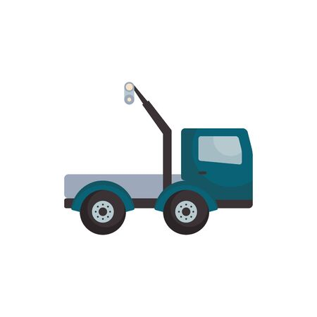 Crane truck flat style icon design of Construction working maintenance workshop repairing progress labor and industrial theme Vector illustration