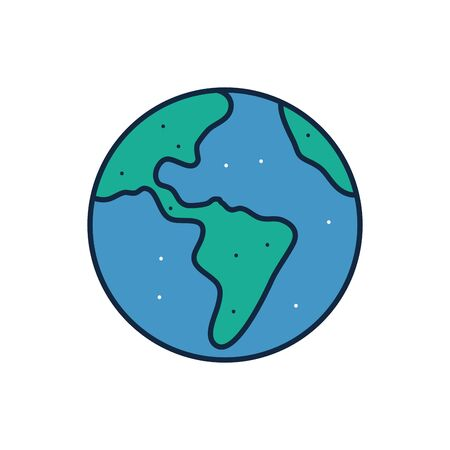 World sphere line fill style icon design, Planet continent earth globe ocen sea universe science and map theme Vector illustration