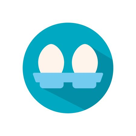 two eggs flat style icon design, Eat food restaurant menu dinner lunch cooking and meal theme Vector illustration