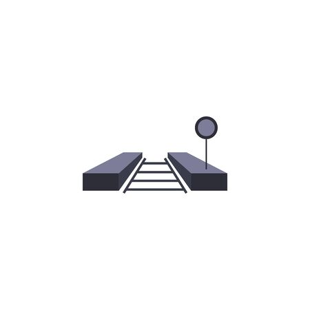 Road sign and train rail fill style icon design, Street message way information direction board transportation travel and guide theme Vector illustration