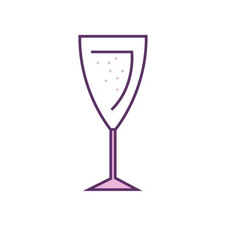 Champagne cup line fill style icon design, Alcohol drink bar beverage liquid menu surprise restaurant and celebration theme Vector illustration Illustration