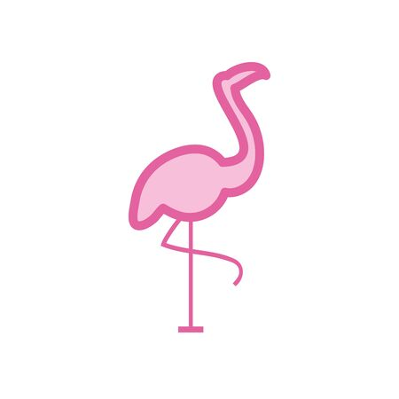 Flamingo bird neon line and fill style icon design, Animal zoo life nature character childhood and adorable theme Vector illustration