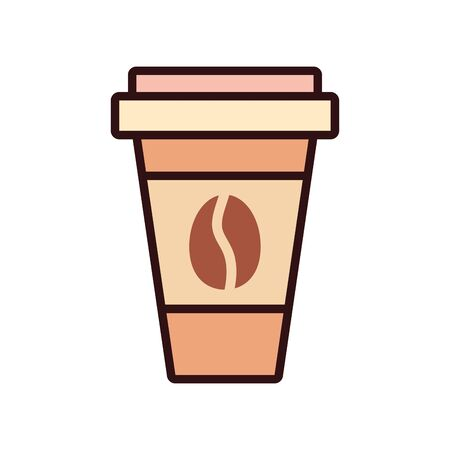 coffee mug drink line and fill style icon design, Beverage liquid menu restaurant lunch refreshment kitchen and meal theme Vector illustration