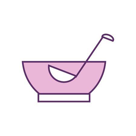punch bowl line fill style icon design, Alcohol drink bar beverage liquid menu surprise restaurant and celebration theme Vector illustration
