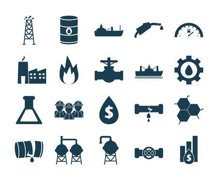 Oil industry silhouette style icon set design, Gas energy fuel technology power industrial production and petroleum theme Vector illustration