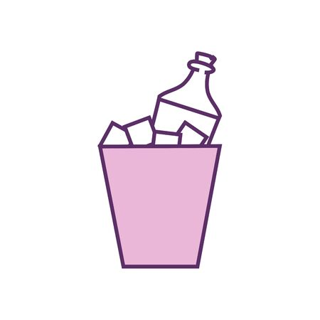 bottle inside ice bucket line fill style icon design, Alcohol drink bar beverage liquid menu surprise restaurant and celebration theme Vector illustration