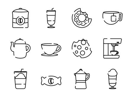 Coffee line style icon set design of time drink breakfast beverage morning store aroma and caffeine theme Vector illustration