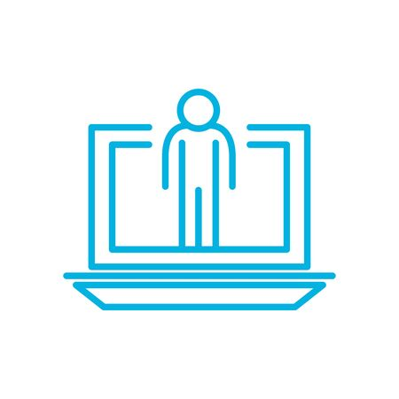 avatar inside laptop line style icon design, futuristic virtual technology modern innovation digital entertainment tech and simulation theme Vector illustration Vettoriali