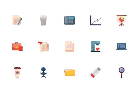 Fill style icon set design, Office business objects workforce corporate job work occupation and communication theme Vector illustration