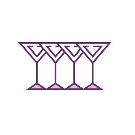 Cocktails line fill style icon design, Alcohol drink bar beverage liquid menu surprise restaurant and celebration theme Vector illustration
