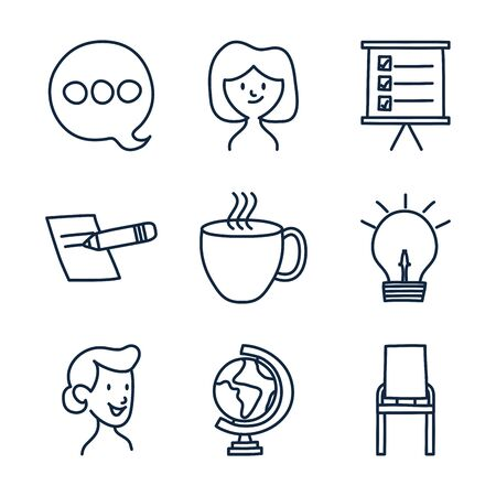 doodle line style icon set design, Ornament sketch art drawing cute idea creative and decorative theme Vector illustration Illustration