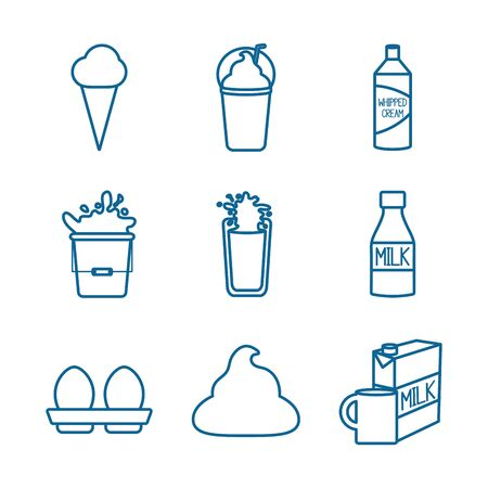 dairy line style icon set design, breakfast food fresh natural healthy product calcium and nature theme Vector illustration 일러스트