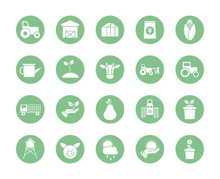 silhouette block style icon set design, agronomy farm lifestyle agriculture harvest rural farming and country theme Vector illustration Stock Illustratie