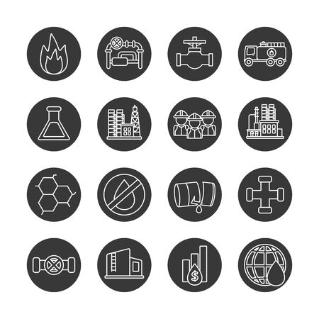 Oil industry line block style icon set design, Gas energy fuel technology power industrial production and petroleum theme Vector illustration