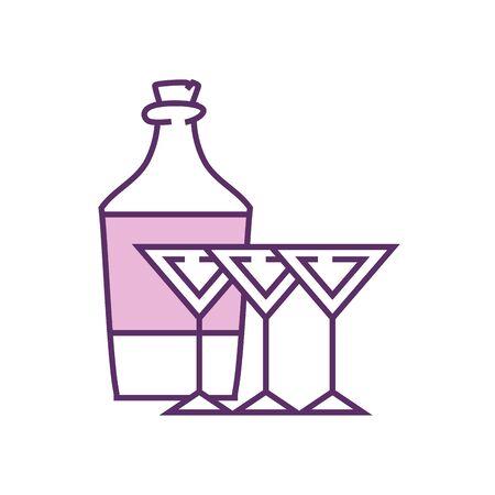 Cocktails and bottle line fill style icon design, Alcohol drink bar beverage liquid menu surprise restaurant and celebration theme Vector illustration Illustration
