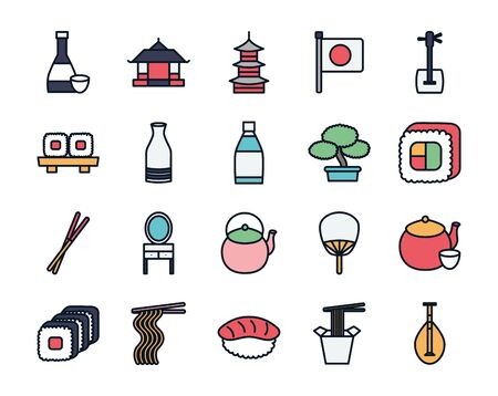 Japanese house line fill icon design, Japan culture asia travel landmark famous asian and oriental theme Vector illustration 일러스트