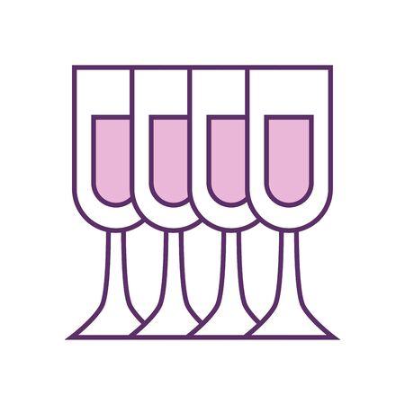 Champagne cups line fill style icon design, Alcohol drink bar beverage liquid menu surprise restaurant and celebration theme Vector illustration