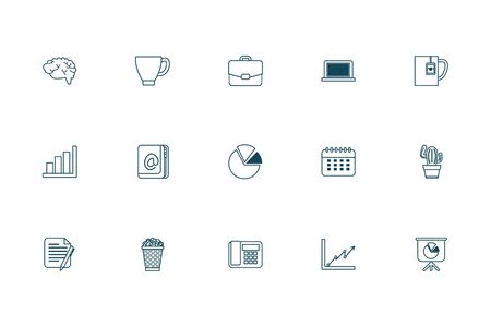 Line style icon set design, Office business objects workforce corporate job work occupation and communication theme Vector illustration