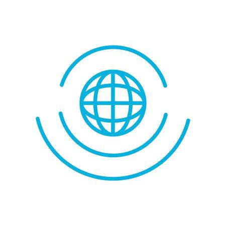 global sphere line style icon design, futuristic virtual technology modern innovation digital entertainment tech and simulation theme Vector illustration Vettoriali