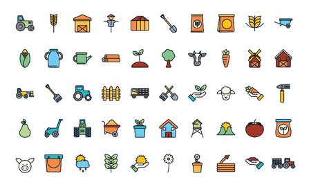 line fill style icon set design, agronomy farm lifestyle agriculture harvest rural farming and country theme Vector illustration