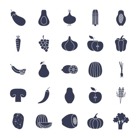 Fruits and vegetables silhouette style icon set design, healthy organic food fresh natural market product quality and restaurant theme Vector illustration